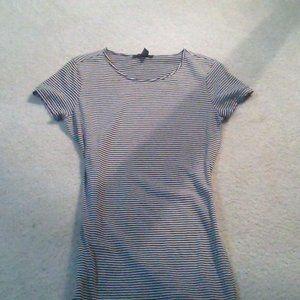 Brown and White Striped T-shirt Dress Mini